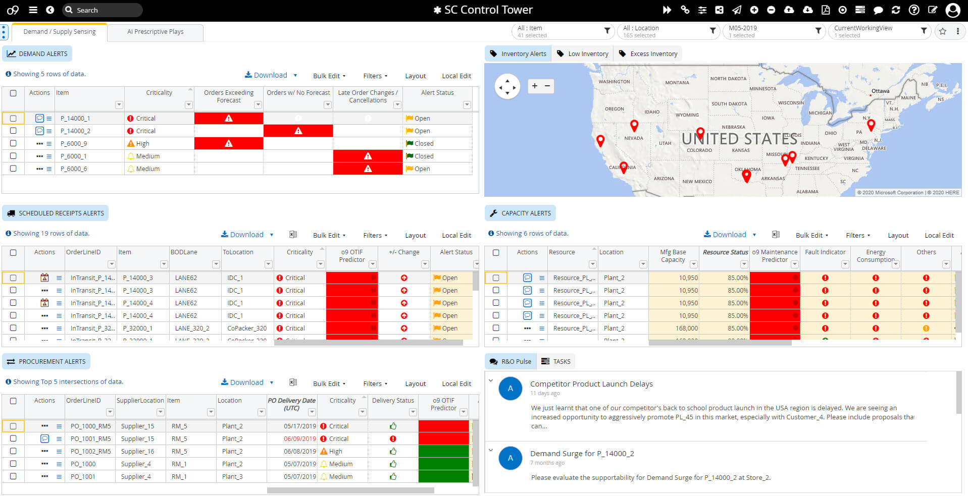 o9 Solutions' supply chain control tower software working interface for demand/supply sensing